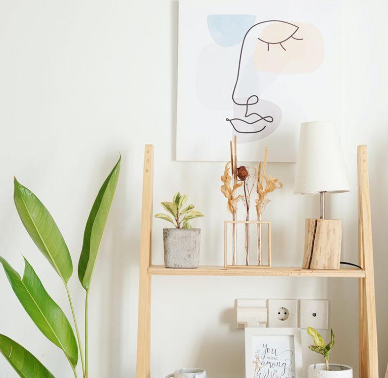 Minimalist Ladder Desks with Shelf
