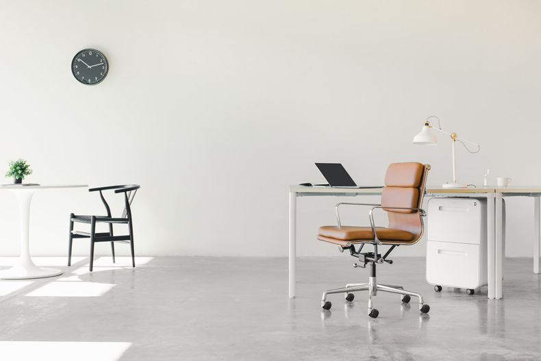 Clever storage solutions for a minimalist office