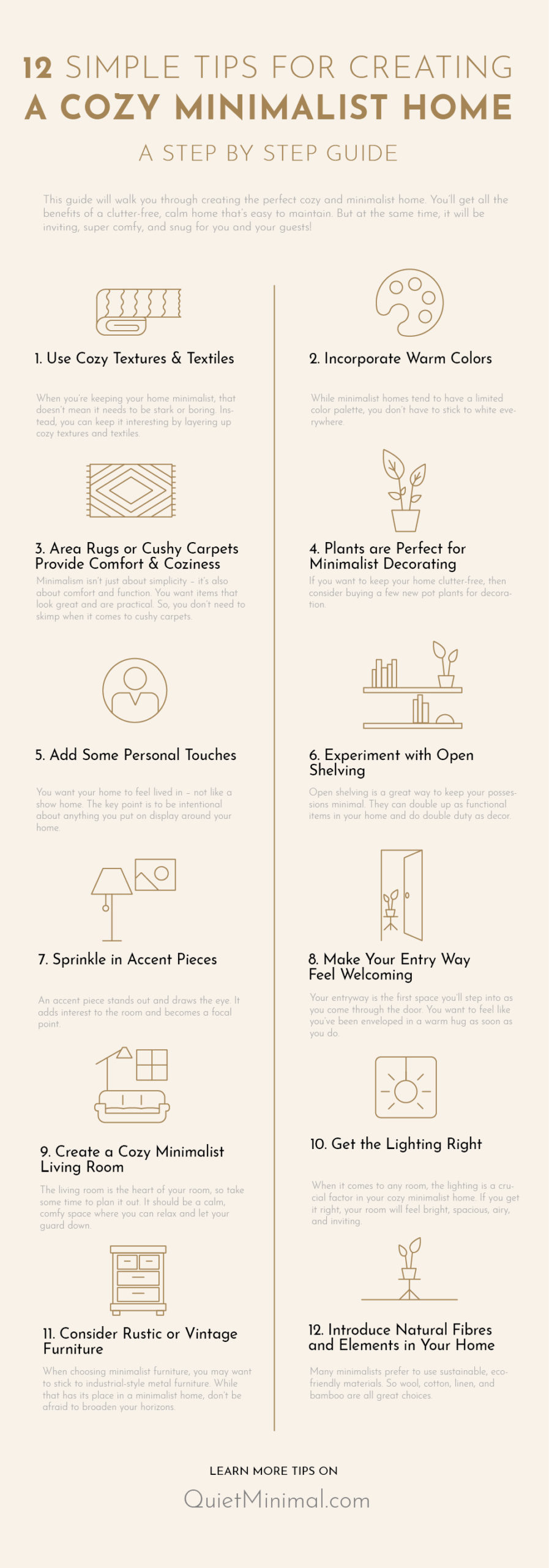 12 simple tips for creating a cozy minimalist home, a step by step guide